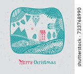 an illustrated christmas card.... | Shutterstock .eps vector #733768990