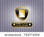 gold emblem with book icon and ... | Shutterstock .eps vector #733771024