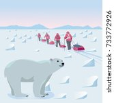 expedition in the arctic | Shutterstock .eps vector #733772926