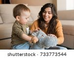 baby boy playing with a rocking ... | Shutterstock . vector #733773544