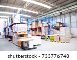 blurred image of warehouse that ... | Shutterstock . vector #733776748