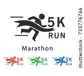5k run marathon vector...   Shutterstock .eps vector #733776766