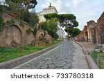 view of imperial holes  rome  | Shutterstock . vector #733780318