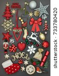 symbols of  christmas with new...   Shutterstock . vector #733780420