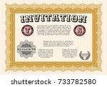 orange formal invitation...   Shutterstock .eps vector #733782580