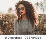 outdoor fashion photo of young... | Shutterstock . vector #733784398