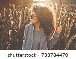 outdoor fashion photo of young... | Shutterstock . vector #733784470