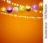 halloween party background with ... | Shutterstock .eps vector #733786324