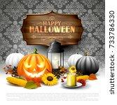 modern halloween greeting card... | Shutterstock .eps vector #733786330