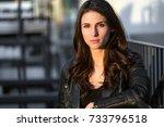 tough rebel type female... | Shutterstock . vector #733796518