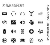 set of 20 editable media icons. ...