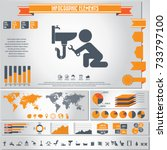 plumbing icons set and... | Shutterstock .eps vector #733797100