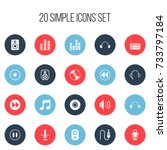 set of 20 editable song icons.... | Shutterstock .eps vector #733797184