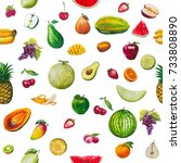 fruits seamless pattern. a set... | Shutterstock . vector #733808890