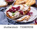 homemade leftover thanksgiving... | Shutterstock . vector #733809058