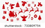 set of red vector christmas... | Shutterstock .eps vector #733809754