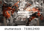 automobile assembly line... | Shutterstock . vector #733812400