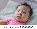 asian 3 months baby girl... | Shutterstock . vector #733818568