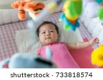 asian 3 months baby girl... | Shutterstock . vector #733818574