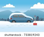 car covered in snow about to... | Shutterstock .eps vector #733819243
