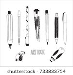 hand drawn stationery and art...   Shutterstock .eps vector #733833754
