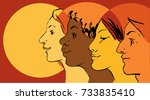 female profiles of different... | Shutterstock .eps vector #733835410