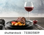 Plate With Juicy Steak And...
