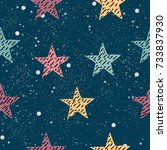 cute pattern with pink stars on ... | Shutterstock .eps vector #733837930