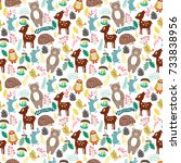 seamless pattern with cute... | Shutterstock .eps vector #733838956