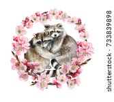 flowering pink ring with... | Shutterstock . vector #733839898