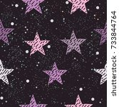 cute pattern with pink stars on ... | Shutterstock .eps vector #733844764