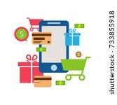 mobile online store  ... | Shutterstock .eps vector #733855918