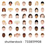 a set of kids head icon... | Shutterstock .eps vector #733859908