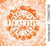 healthy orange mosaic emblem | Shutterstock .eps vector #733865758