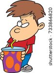 cartoon boy drinking from a... | Shutterstock .eps vector #733866820