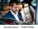businessman texting on his... | Shutterstock . vector #733873306