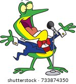 cartoon frog singing into a mic | Shutterstock .eps vector #733874350