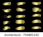 vector golden brushes... | Shutterstock .eps vector #733881133