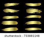 vector golden brushes... | Shutterstock .eps vector #733881148