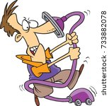 cartoon man fighting with the... | Shutterstock .eps vector #733882078