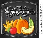 thanksgiving chalk hand... | Shutterstock .eps vector #733891618