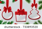 christmas decorations. bauble ... | Shutterstock .eps vector #733893520