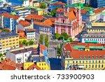 ljubljana city center and... | Shutterstock . vector #733900903