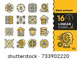 linear icon set of data science ... | Shutterstock .eps vector #733902220