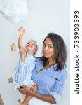 little cute girl with mom ... | Shutterstock . vector #733903393