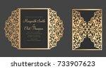 gate fold laser cut card... | Shutterstock .eps vector #733907623