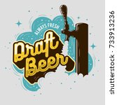 draft beer tap with foam... | Shutterstock .eps vector #733913236