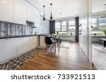 modern small room with  kitchen ... | Shutterstock . vector #733921513