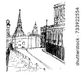 the sketch of the moscow kremlin | Shutterstock .eps vector #733922554