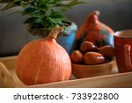 autumn mood at home. decoration ... | Shutterstock . vector #733922800